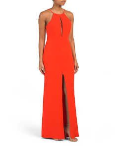 Made In Usa Long Slim Front Slit Dress