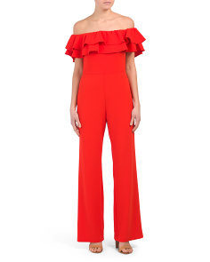 Off The Shoulder Scuba Crepe Jumpsuit