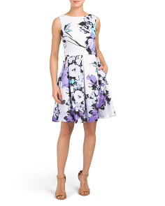 Floral Scuba Pleated Fit & Flare Dress