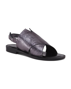 Made In Italy Leather Cross Band Sandals