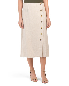 Button Front Linen Blend Skirt