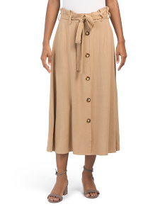 Linen Blend Paper Bag Button Front Skirt