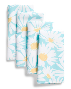 Set Of 4 Indoor Outdoor Sunny Daisy Napkins