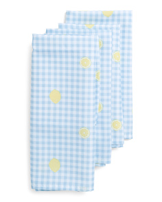 4pk Indoor Outdoor Gingham Lemons Napkins