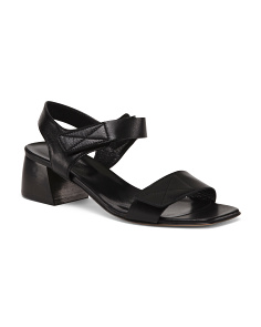 Made In Italy Low Squat Leather Heeled Sandals