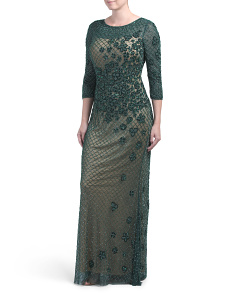 Three-quarter Sleeve Beaded Gown