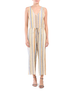 Coy Striped Linen Blend Jumpsuit
