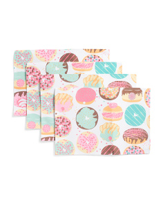 Set Of Four Sweet Donuts Placemats