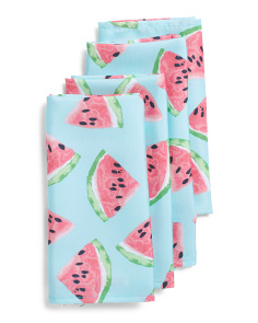 Set Of 4 Indoor Outdoor Watermelon Napkins