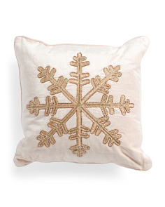 Made In India 18x18 Beaded Snowflake Pillow