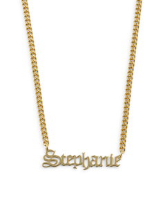 Sterling Silver Stephanie Gothic Font Necklace