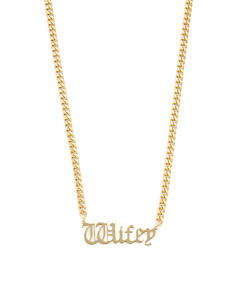 Sterling Silver Wifey Gothic Font Necklace