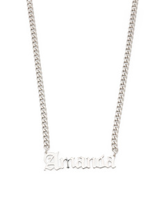 Sterling Silver Amanda Gothic Font Necklace