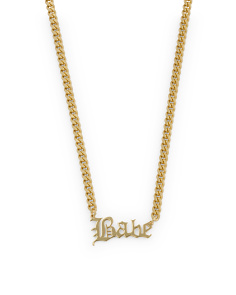 Sterling Silver Babe Gothic Font Necklace