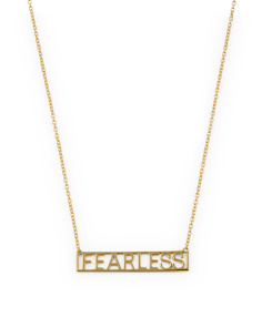 Sterling Silver Fearless Block Font Necklace