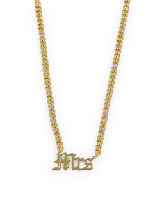 Sterling Silver Mrs Gothic Font Necklace