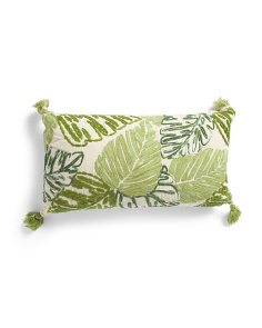Made In India 14x24 Embroidered Leaves Pillow