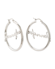 Sterling Silver Jennifer Script 35mm Hoop Earrings