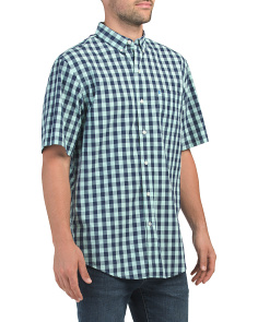 Short Sleeve Two Tone Gingham Shirt