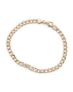 Made In Italy 14k Gold Mrs Curb Chain Bracelet