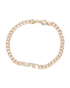 Made In Italy 14k Gold Wifey Curb Chain Bracelet
