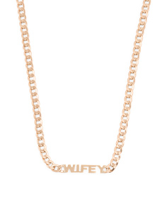 Made In Italy 14k Gold Wifey Curb Chain Necklace