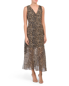 V-neck Leopard Print Midi Dress