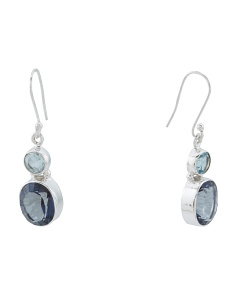 Made In India Sterling Silver Blue Topaz And Quartz Earrings