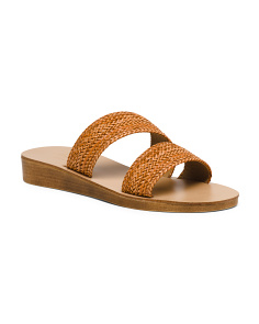 Made In Italy Asymmetrical Woven Slide Sandals