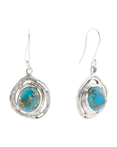 Made In India Sterling Silver Copper Infused Turquoise Earrings