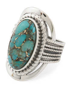 Made In India Sterling Silver Copper Infused Turquoise Ring