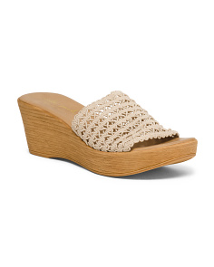 Made In Italy Crochet Stretch Wedge Sandals