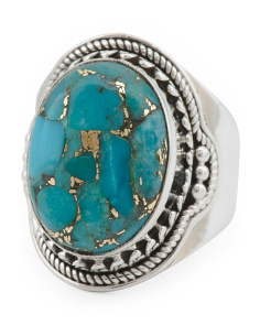 Made In India Sterling Silver Copper Turquoise Ring