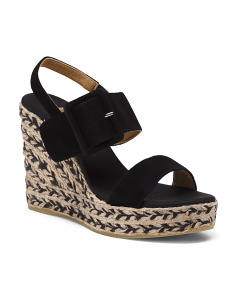 Made In Spain Suede Ankle Strap Platform Wedges