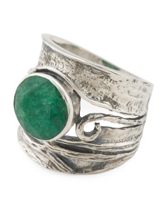 Made In India Sterling Silver Emerald Ring