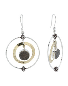 Made In India Sterling Silver Marcasite Drusy Brass Earrings