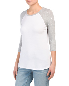 Baseball Tee With Mini Star Sleeve