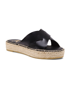 Made In Spain Crossband Leather Espadrilles