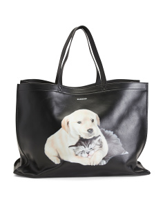 Made In Italy Animal Graphic Leather Tote Bag