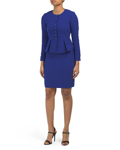 Petite Crepe Skirt Suit With Snap Closure