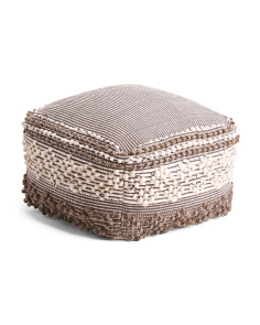 Made In India 22x22 Neutral Textured Wool Blend Pouf