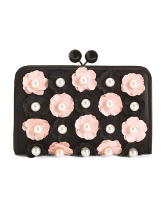 Floral And Pearl Evening Crossbody