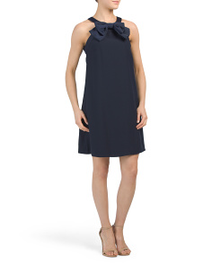 Crepe Sleeveless Dress With Bow Collar