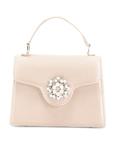 Satin Lady Bag With Pearl Ornament