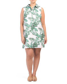 Plus Tropical Linen Henley Dress