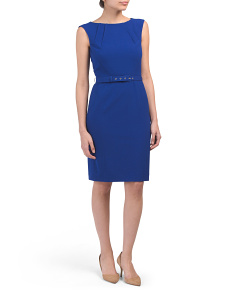 Petite Bistretch Dress With Self Belt