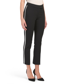 Petite Crepe Pants With Contrast Stripe