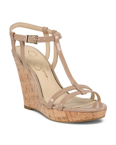 ff9174aa3 Patent Cork Wedge Sandals ...