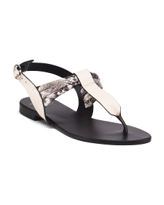 Made In Italy Python Thong Leather Sandals