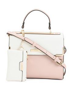 Color Block Satchel With Pouch